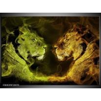 Foto canvas schilderij Leeuw | Geel, Wit, Groen