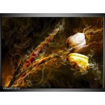 Foto canvas schilderij Tulp | Geel, Wit, Groen