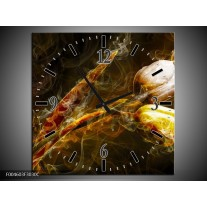 Wandklok op Canvas Tulp | Kleur: Geel, Wit, Groen | F004603C