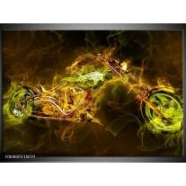 Foto canvas schilderij Motor | Geel, Wit, Groen