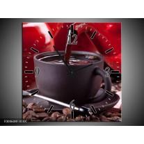 Wandklok op Canvas Koffie   Kleur: Rood, Bruin, Wit   F004608C