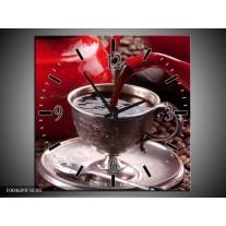 Wandklok op Canvas Koffie | Kleur: Rood, Bruin, Wit | F004609C