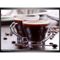 Foto canvas schilderij Koffie | Bruin, Wit