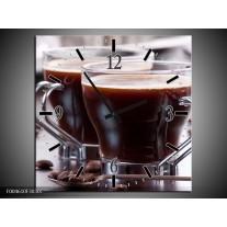 Wandklok op Canvas Koffie | Kleur: Bruin, Wit | F004610C