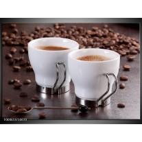 Glas schilderij Koffie   Bruin, Wit