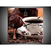Wandklok op Canvas Koffie | Kleur: Wit, Bruin | F004616C