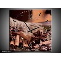 Wandklok op Canvas Koffie | Kleur: Wit, Bruin | F004617C