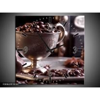 Wandklok op Canvas Koffie | Kleur: Wit, Bruin | F004620C