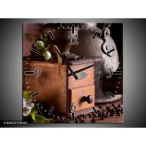 Wandklok op Canvas Koffie | Kleur: Wit, Bruin | F004621C