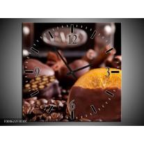 Wandklok op Canvas Koffie | Kleur: Wit, Bruin | F004622C