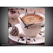 Wandklok op Canvas Koffie | Kleur: Wit, Bruin | F004623C