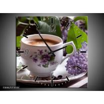 Wandklok op Canvas Koffie | Kleur: Wit, Bruin | F004625C