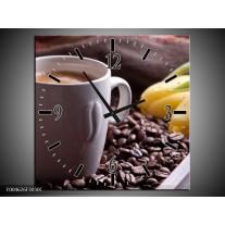 Wandklok op Canvas Koffie | Kleur: Wit, Bruin | F004626C