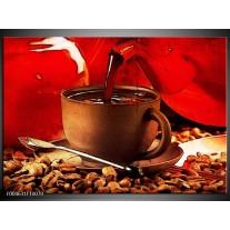 Glas schilderij Koffie | Wit, Bruin, Rood