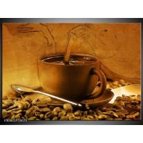 Glas schilderij Koffie | Wit, Bruin, Geel
