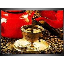 Glas schilderij Koffie | Rood, Goud, Bruin