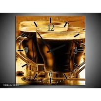 Wandklok op Canvas Koffie | Kleur: Bruin, Geel | F004636C