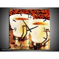 Wandklok op Canvas Koffie | Kleur: Bruin, Geel | F004637C