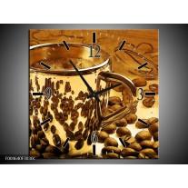 Wandklok op Canvas Koffie | Kleur: Bruin, Geel | F004640C