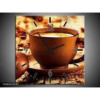 Wandklok op Canvas Koffie | Kleur: Bruin, Geel | F004641C