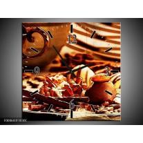Wandklok op Canvas Koffie | Kleur: Bruin, Geel | F004643C