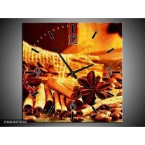 Wandklok op Canvas Koffie | Kleur: Bruin, Geel | F004649C