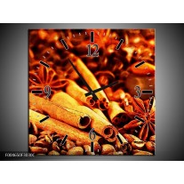 Wandklok op Canvas Koffie | Kleur: Bruin, Geel | F004650C