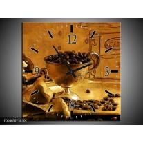 Wandklok op Canvas Koffie | Kleur: Bruin, Geel | F004652C
