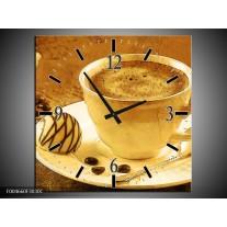 Wandklok op Canvas Koffie | Kleur: Bruin, Geel | F004660C