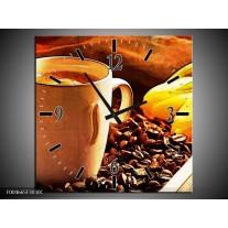 Wandklok op Canvas Keuken | Kleur: Bruin, Geel | F004665C