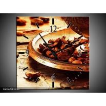Wandklok op Canvas Keuken | Kleur: Bruin, Geel | F004673C