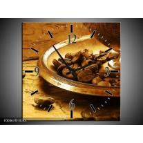 Wandklok op Canvas Keuken   Kleur: Bruin, Geel   F004674C