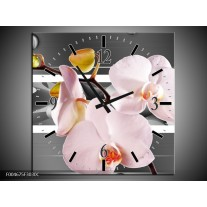 Wandklok op Canvas Orchidee | Kleur: Grijs, Roze, Wit | F004675C