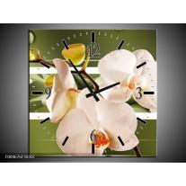 Wandklok op Canvas Orchidee | Kleur: Groen, Roze, Wit | F004676C