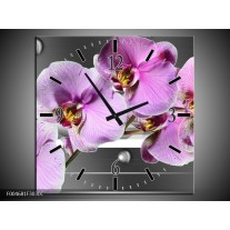 Wandklok op Canvas Orchidee | Kleur: Grijs, Paars, Wit | F004681C