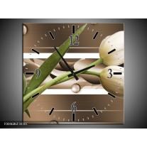Wandklok op Canvas Tulp | Kleur: Bruin, Groen, Wit | F004686C