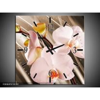 Wandklok op Canvas Orchidee   Kleur: Bruin, Roze   F004695C