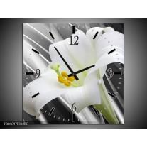 Wandklok op Canvas Bloem | Kleur: Grijs, Wit, Groen | F004697C