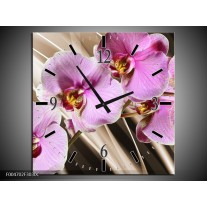 Wandklok op Canvas Orchidee   Kleur: Groen, Bruin, Roze   F004702C