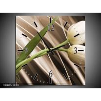 Wandklok op Canvas Tulp | Kleur: Bruin, Wit, Groen | F004705C