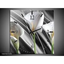 Wandklok op Canvas Bloem | Kleur: Grijs, Wit, Groen | F004706C