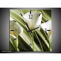 Wandklok op Canvas Bloem   Kleur: Groen, Wit   F004707C
