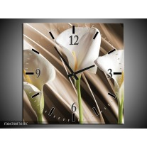 Wandklok op Canvas Bloem | Kleur: Bruin, Wit, Groen | F004708C