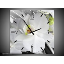 Wandklok op Canvas Orchidee   Kleur: Wit, Grijs, Groen   F004709C