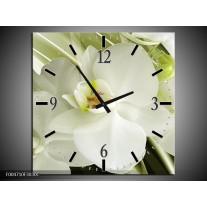 Wandklok op Canvas Orchidee | Kleur: Groen, Wit | F004710C