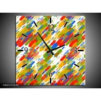 Wandklok op Canvas Modern | Kleur: Groen, Blauw, Rood | F004717C
