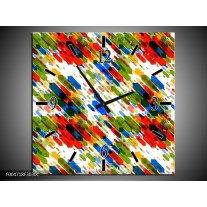 Wandklok op Canvas Modern | Kleur: Groen, Blauw, Rood | F004718C
