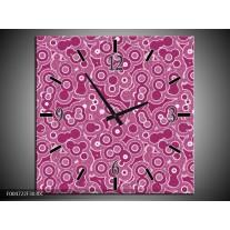 Wandklok op Canvas Modern | Kleur: Paars, Wit, Roze | F004722C