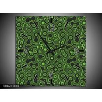 Wandklok op Canvas Modern | Kleur: Groen, Zwart | F004723C