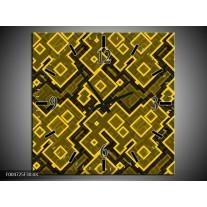 Wandklok op Canvas Modern | Kleur: Geel, Zwart | F004725C